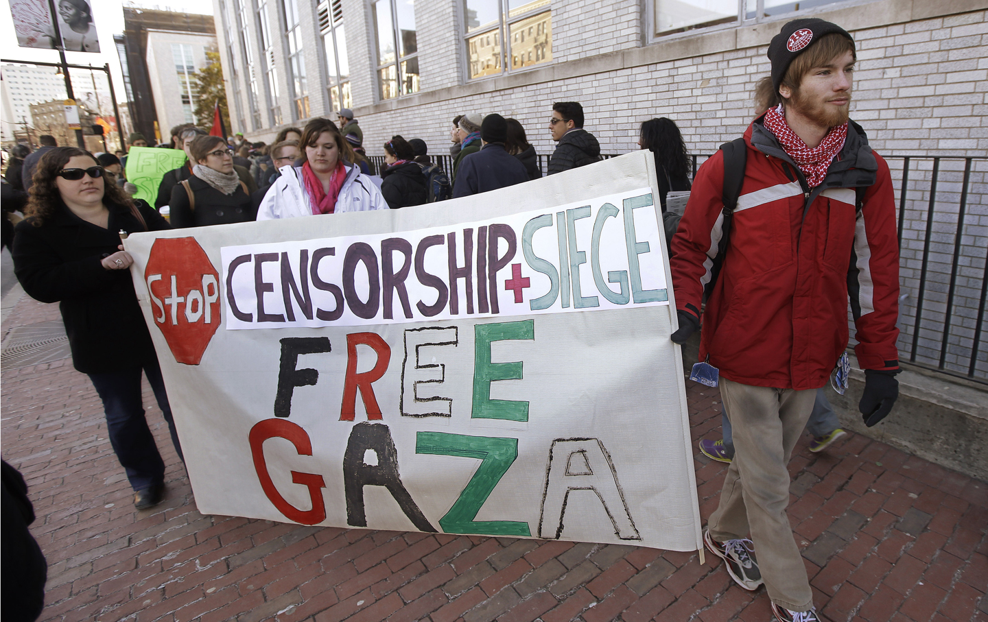 A protest at Northeastern University following the suspension of its Students for Justice in Palestine chapter.