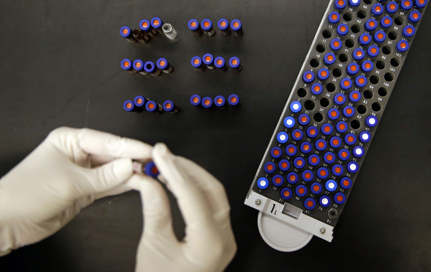 A researcher works alongside a tray of vials containing cerebral spinal fluid.