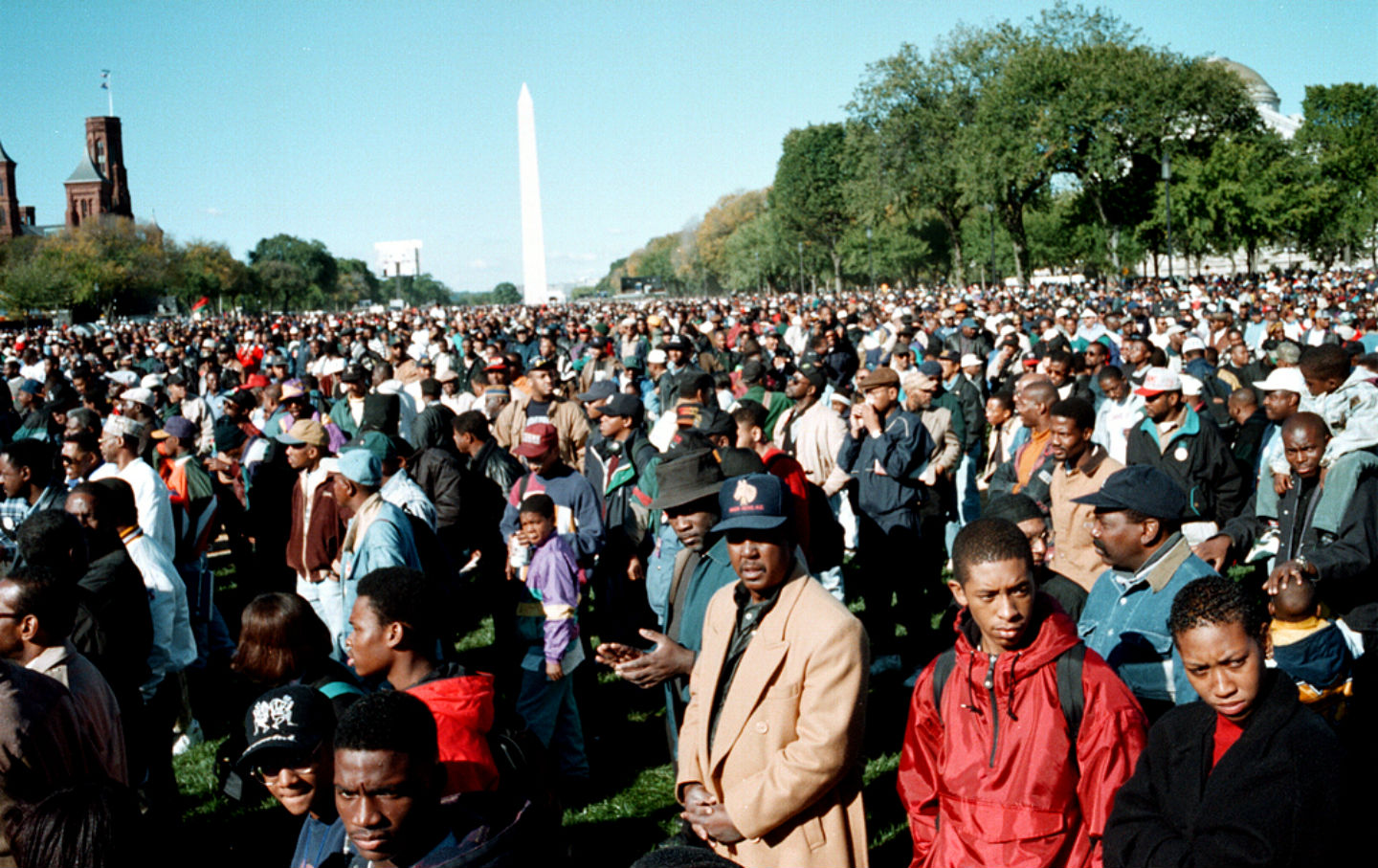 The Million Man March, with the Washington Monument in the background.  (Wikimedia Commons / Joacim Osterstam )