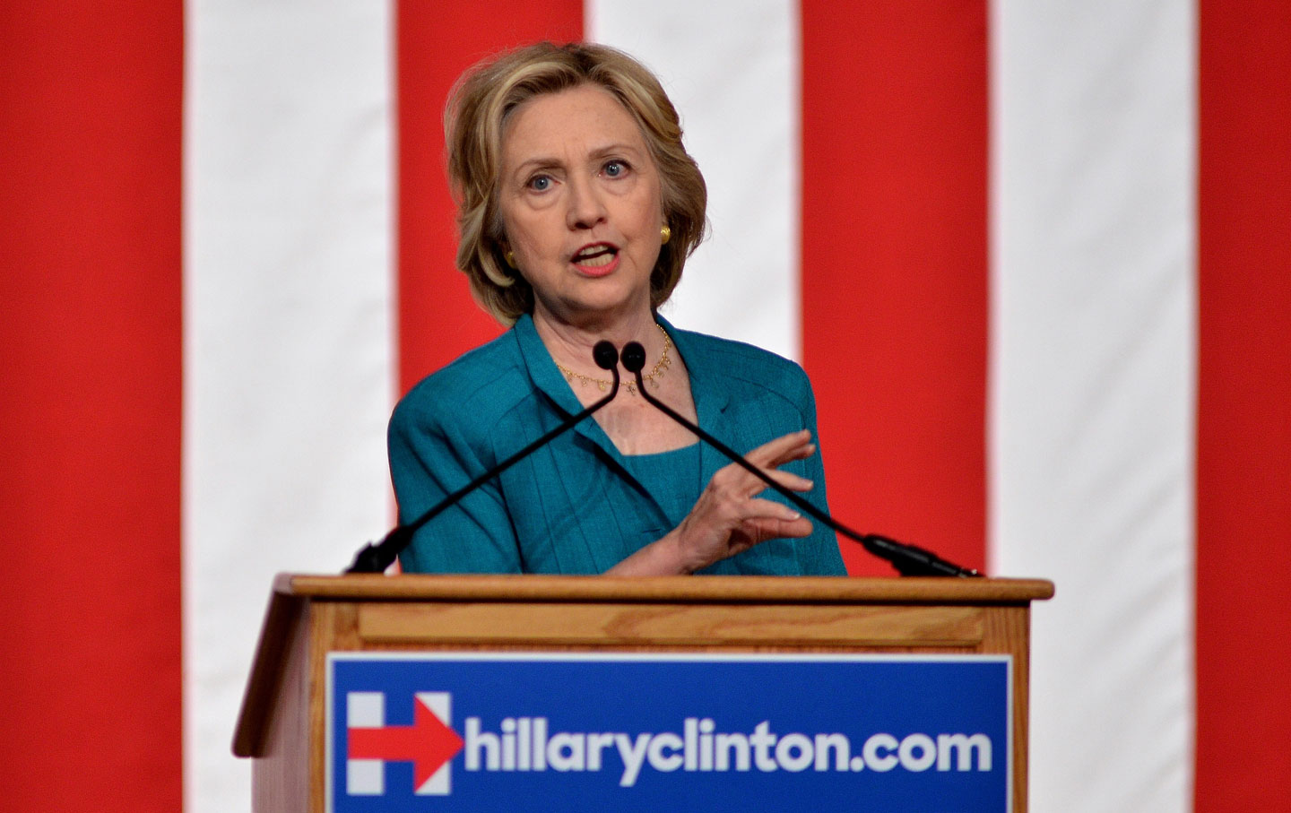 Hillary Clinton during a campaign stop at Florida International University in Miami