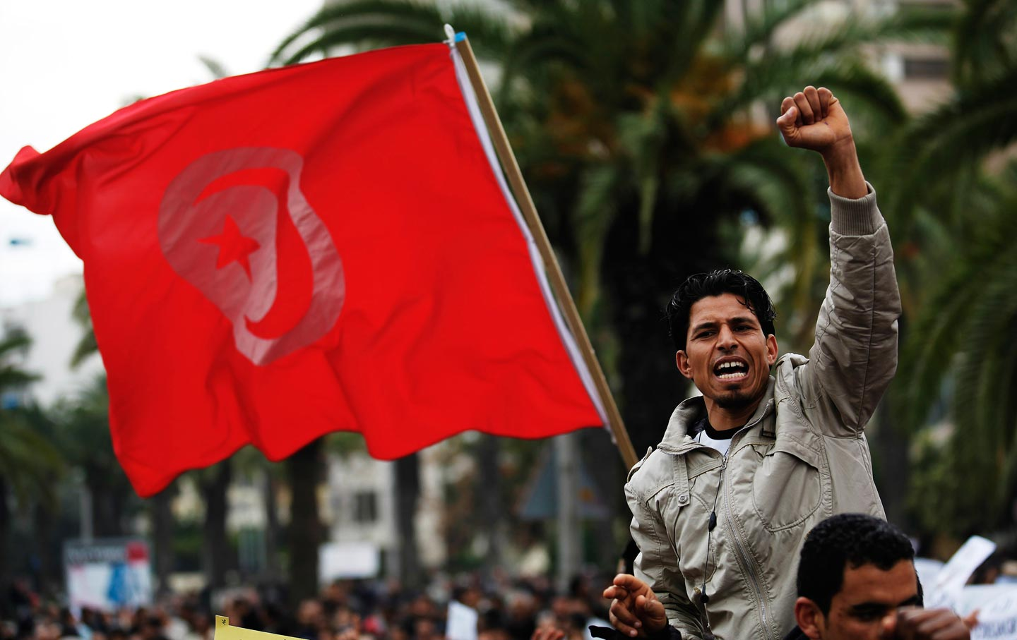 Tunisian protesters rally against the Ben Ali government.