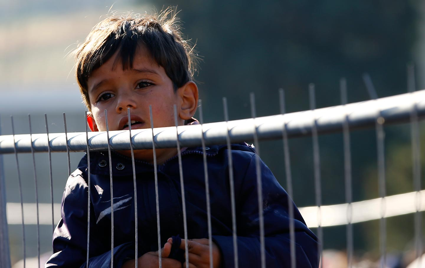 A migrant boy waits to cross the border from the village of Sentilj, Slovenia into Spielfeld in Austria, November 2, 2015.