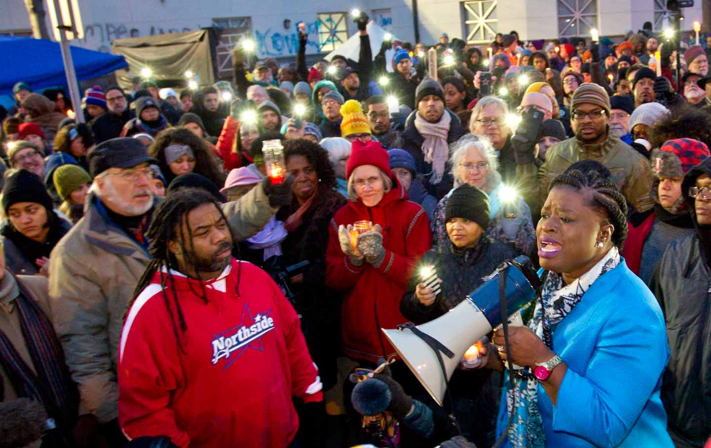 NAACP Minneapolis President Nekima Levy-Pounds speaks during a vigil in front of the Minneapolis Police Department's fourth precinct in Minneapolis.