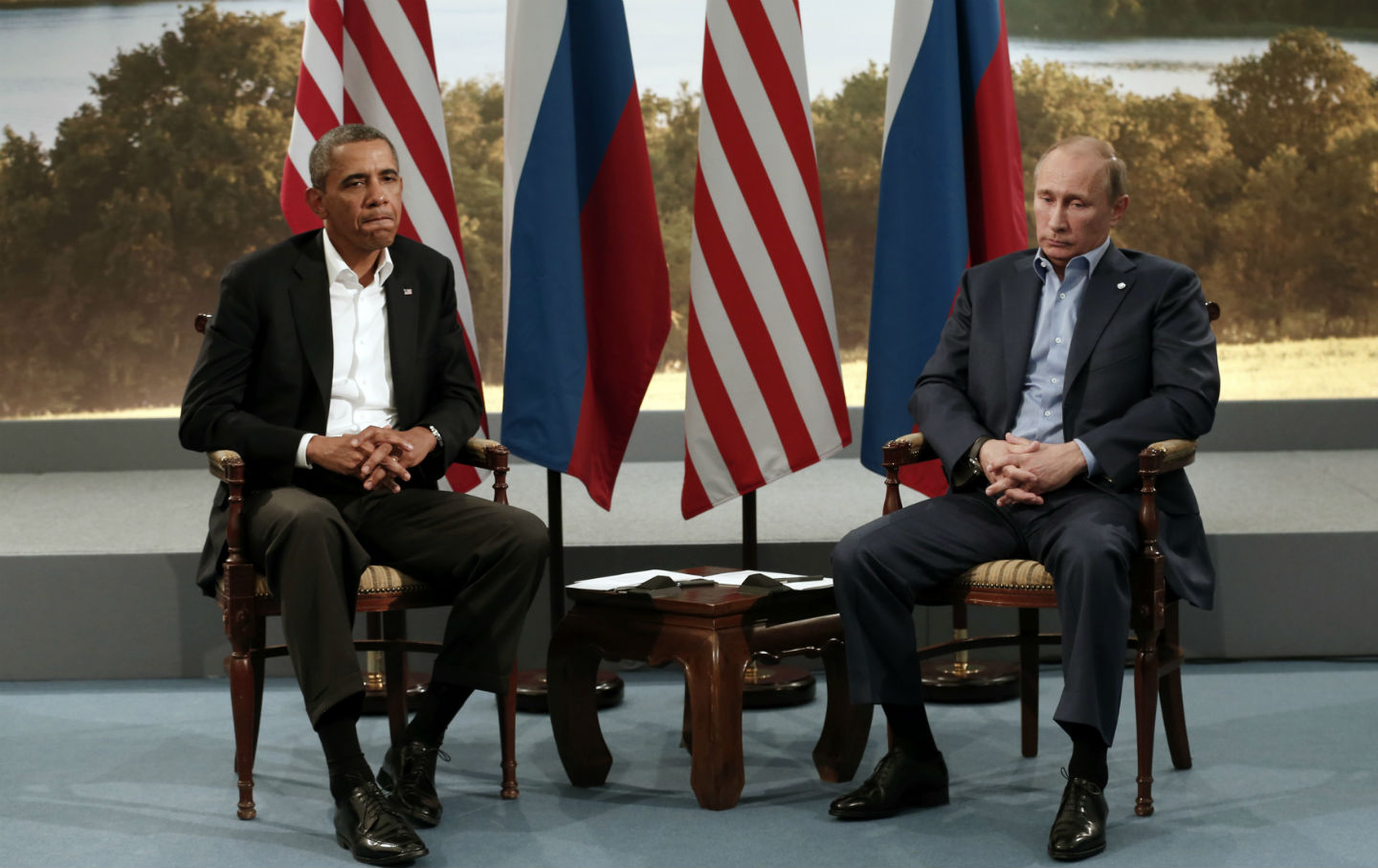 President Obama meets with Vladimir Putin at the G8 Summit.