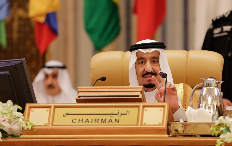 King Salman of Saudi Arabia addresses a summit of Arab and South American leaders in Riyadh.
