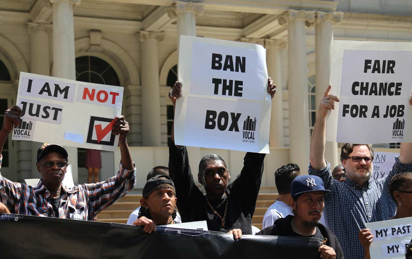 Formerly incarcerated New Yorkers rally with VOCAL to ban the box outside City Hall.