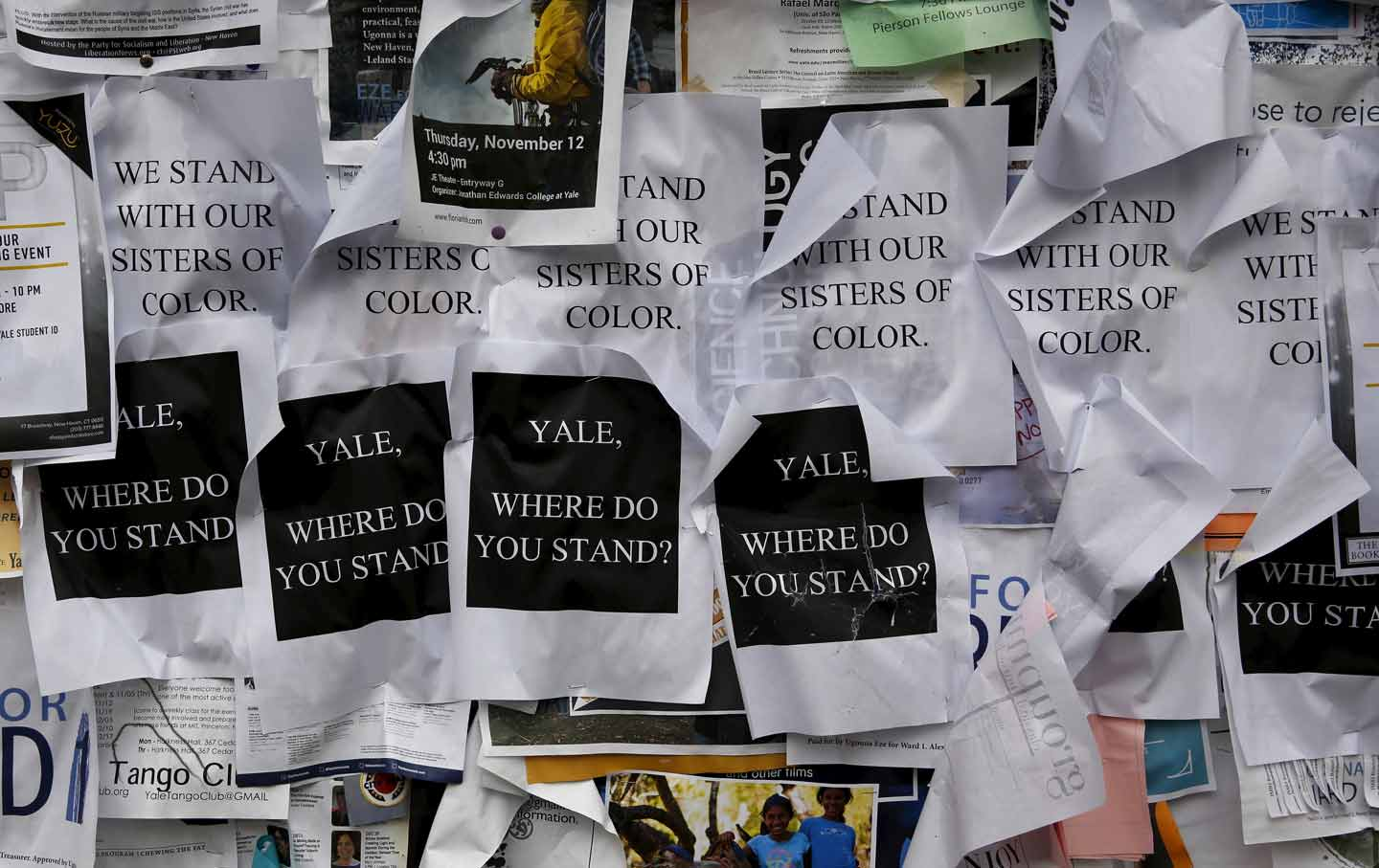 Flyers are seen posted on a college noticeboard on campus at Yale University in New Haven, Connecticut November 12, 2015.