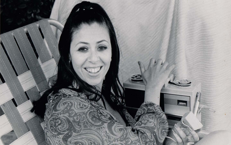 Linda Rosenkrantz with her tape recorder, 1965.