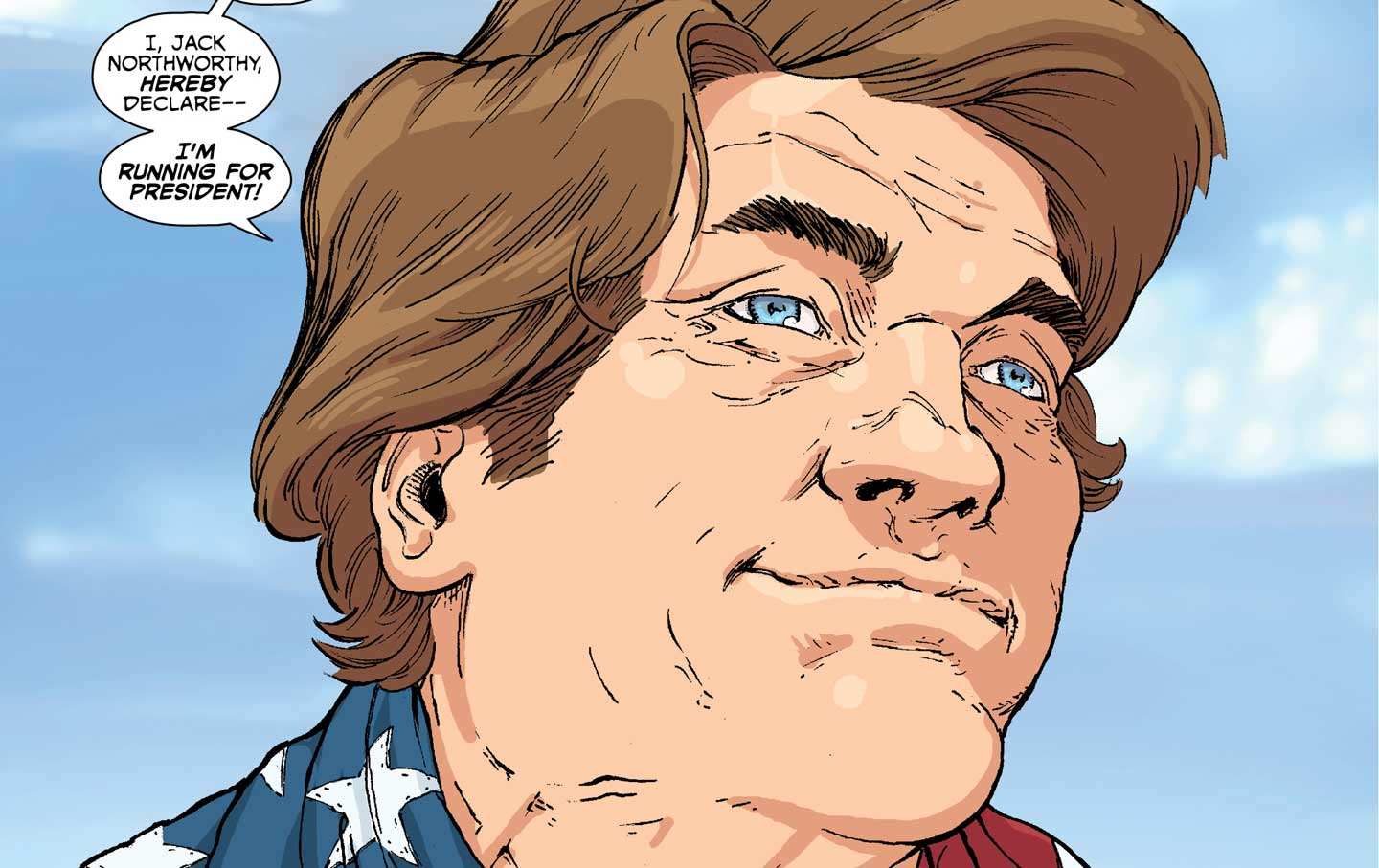 A panel from Image Comics's Citizen Jack featuring satirical presidential candidate Jack Noteworthy.