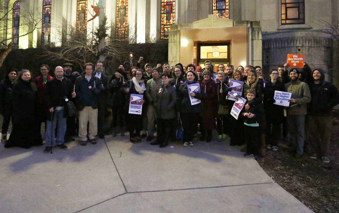 Faculty Forward members at Loyola University Chicago rally for better treatment of adjunct professors.