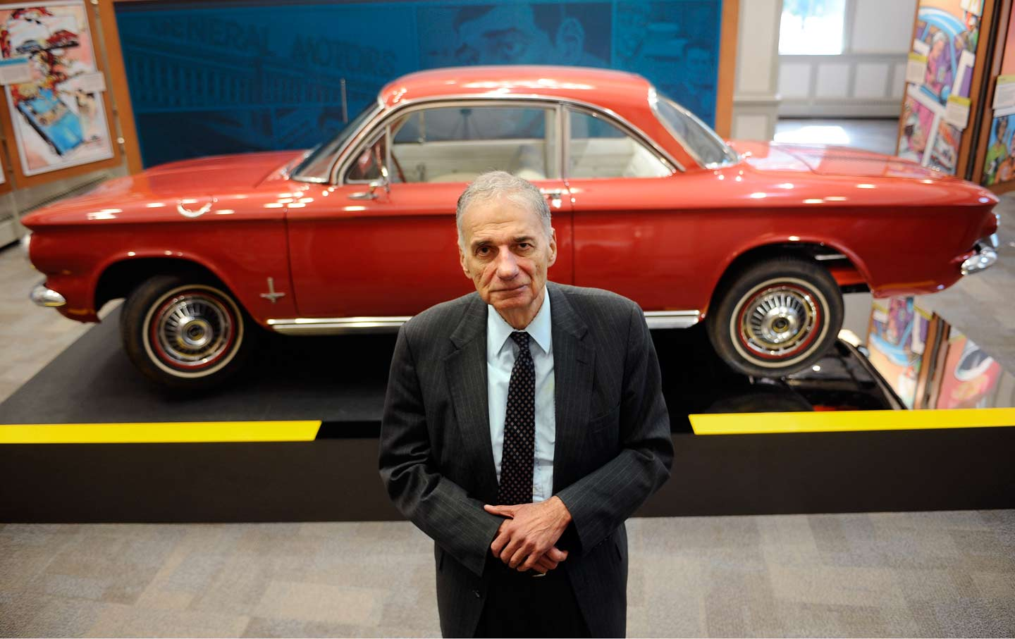 Ralph Nader in front of a Chevy Corvair at the American Museum of Tort Law in Winsted, Connecticut, September 2015.
