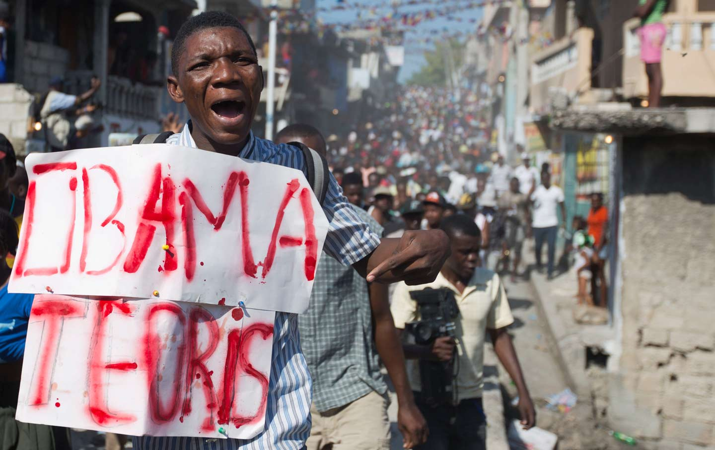 Haiti Protester Upset With Obama