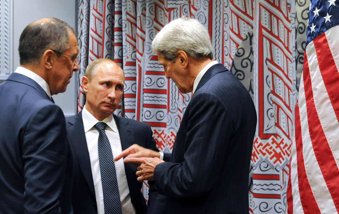 Russian President Vladimir Putin, Russian Foreign Minister Sergey Lavrov, and US Secretary of State John Kerry