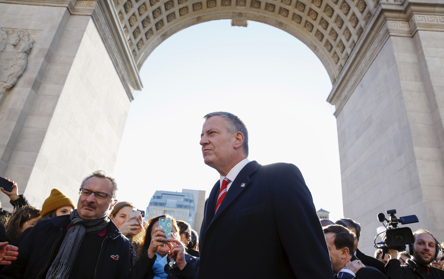 Blasio arrives to join a gathering in response to attacks in Paris, at Washington Square Park in the Manhattan borough of New York