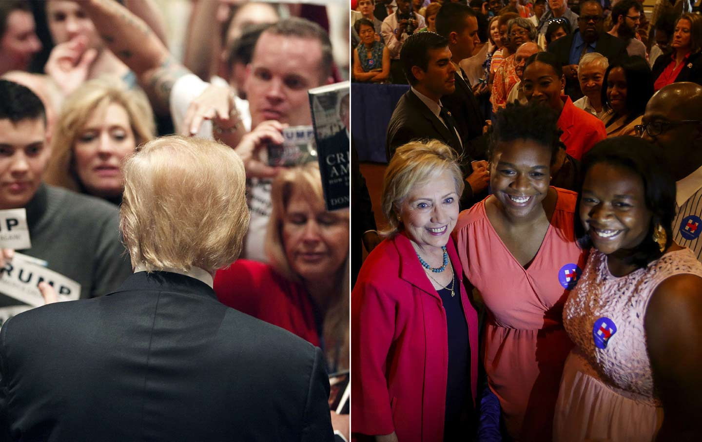 Donald Trump greets his fans at the Westin Hilton Head Island Resort and Spa; Hillary Clinton with supporters at a campaign stop in West Columbia.