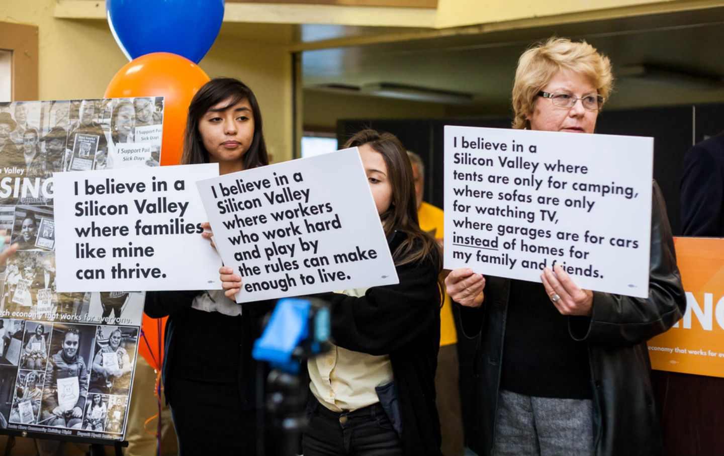 silicon valley s wealth gap the nation supporters of silicon valley rising hold signs at the coalition s launch in 2015 photo by tri nguyen