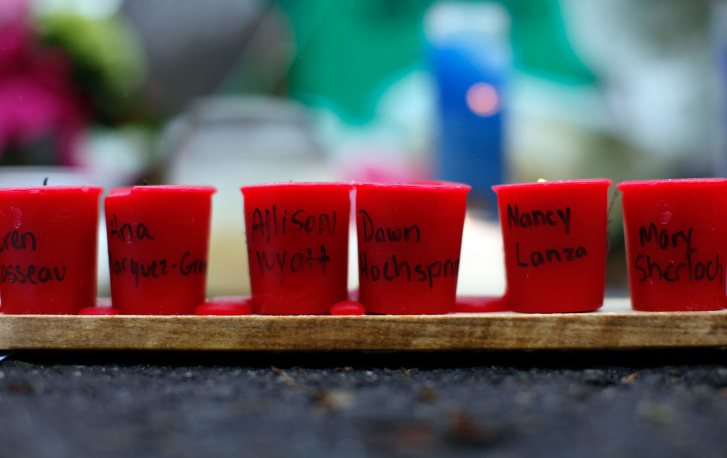 Candles at a memorial near Sandy Hook Elementary School