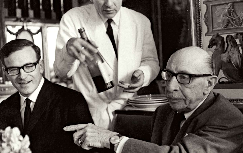 Robert Craft (left) with Igor Stravinsky in 1966.