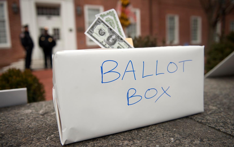 Ballot box stuffed with money
