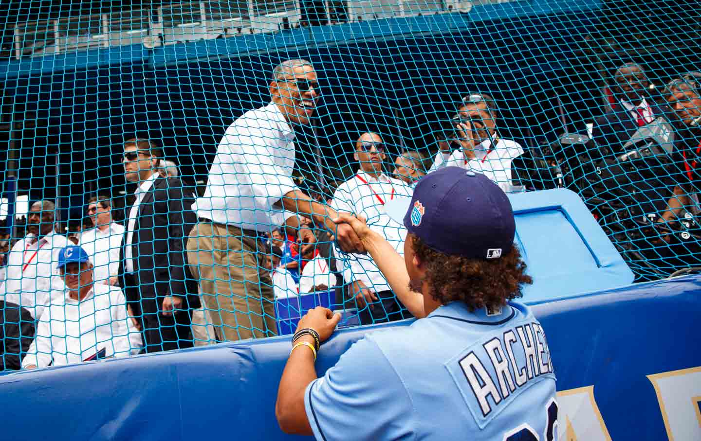 Obama at a baseball game in Havana