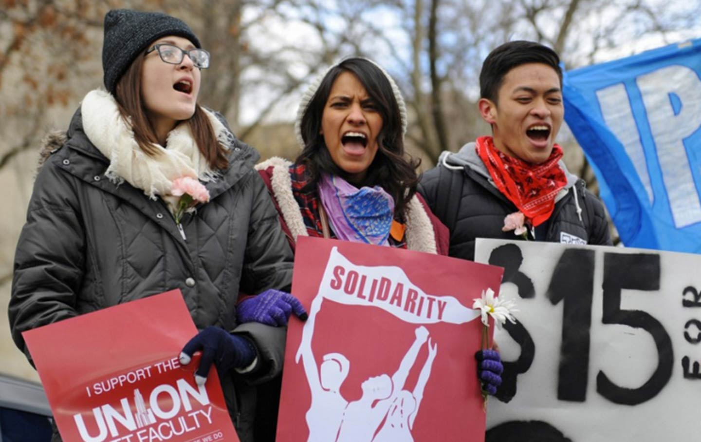 Students protest low wages.