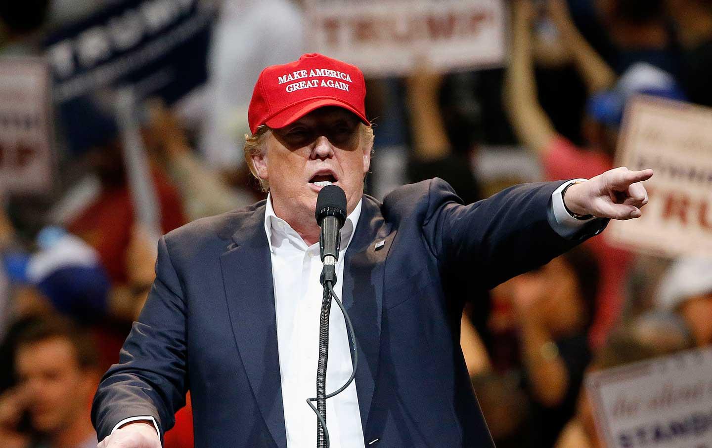 Trump Wearing Make America Great Again Hat