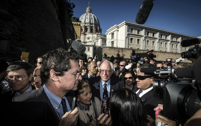 Bernie Sanders leaves the Vatican
