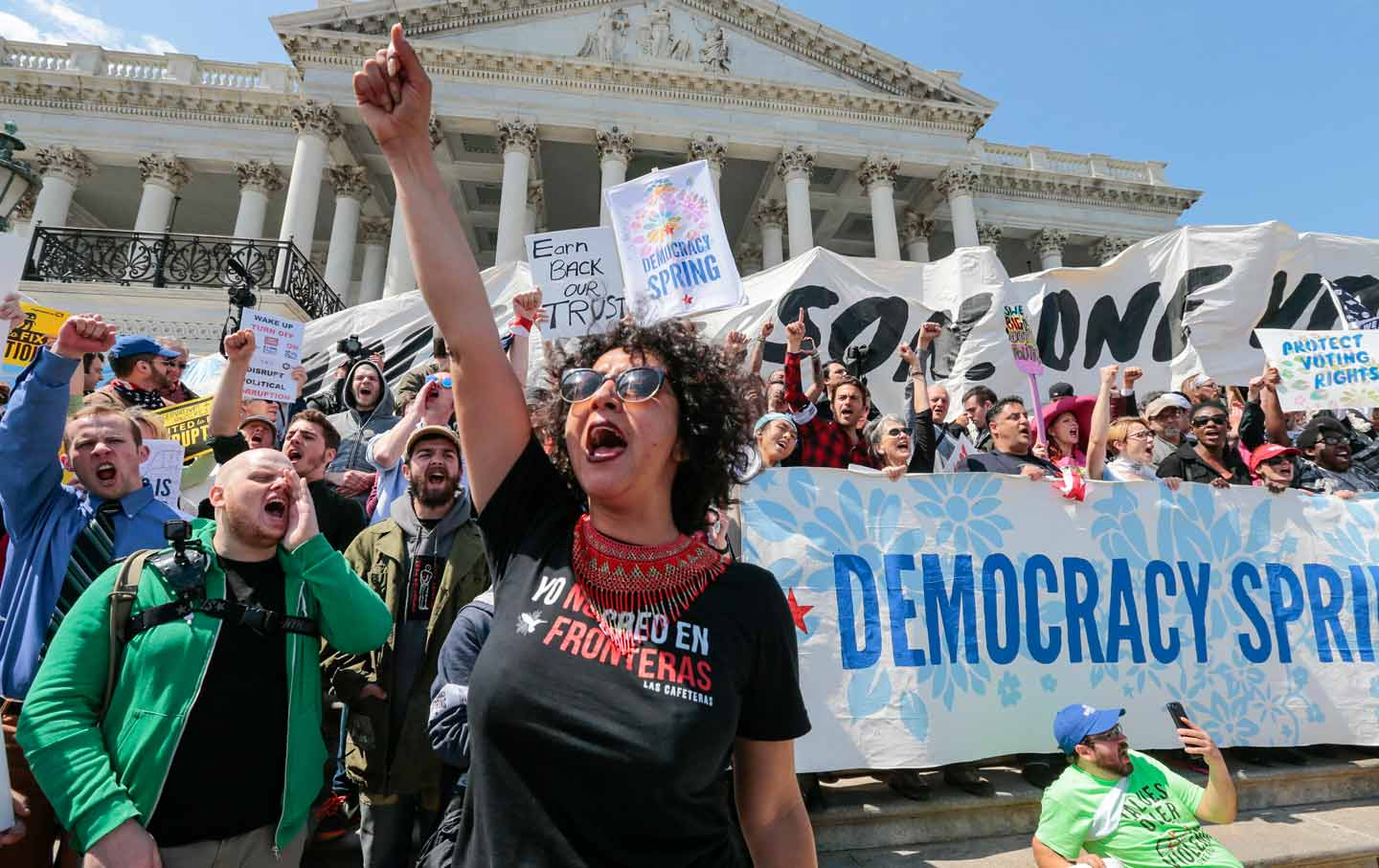 'Democracy Spring' protesters hold mass sit-in at US Capitol