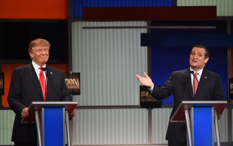Ted Cruz and Donald Trump in Charleston