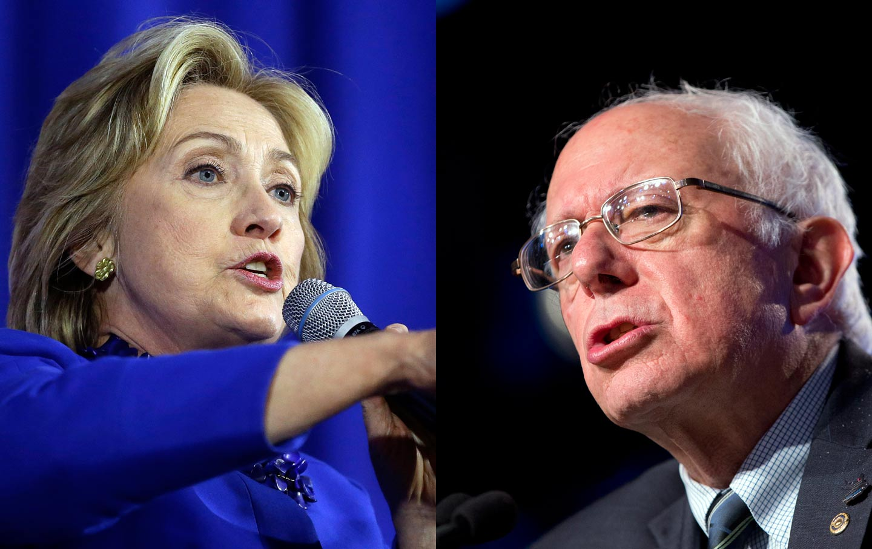 Hillary and Bernie Split Screen