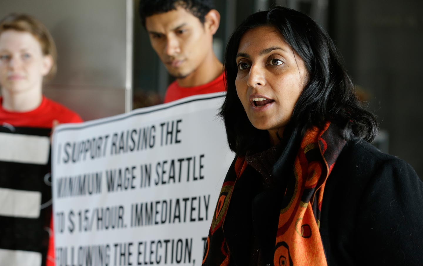 Kshama Sawant $15 minimum wage protest