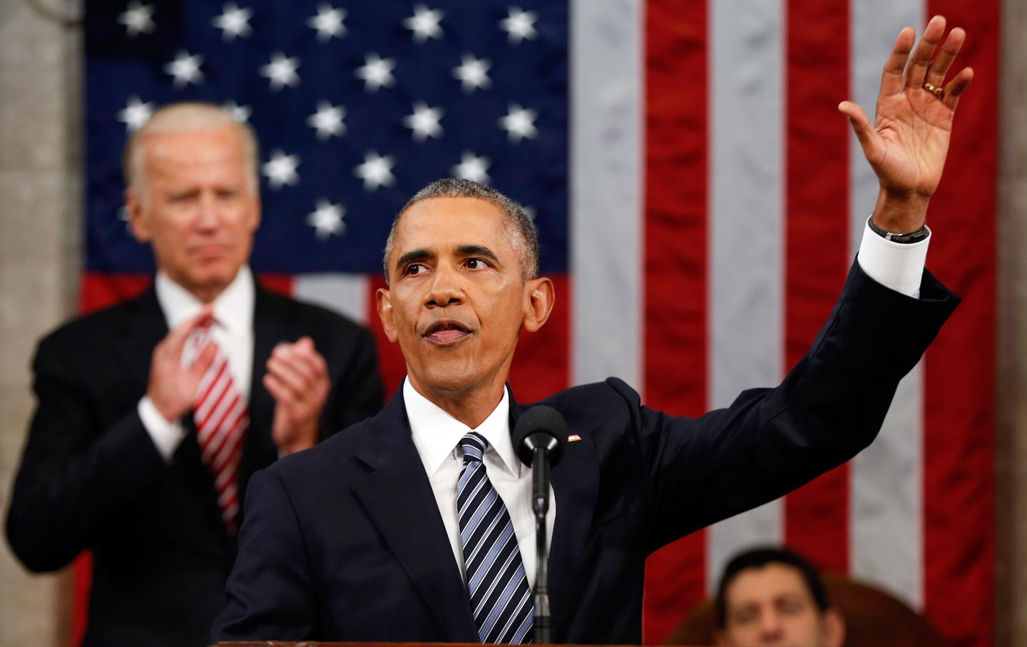 Obama waving at the SOTU