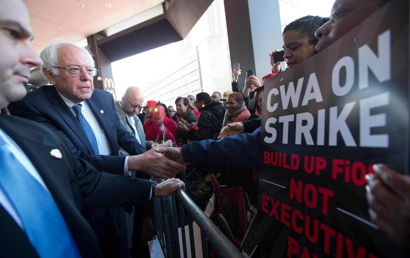 Sanders with CWA workers in Brooklyn
