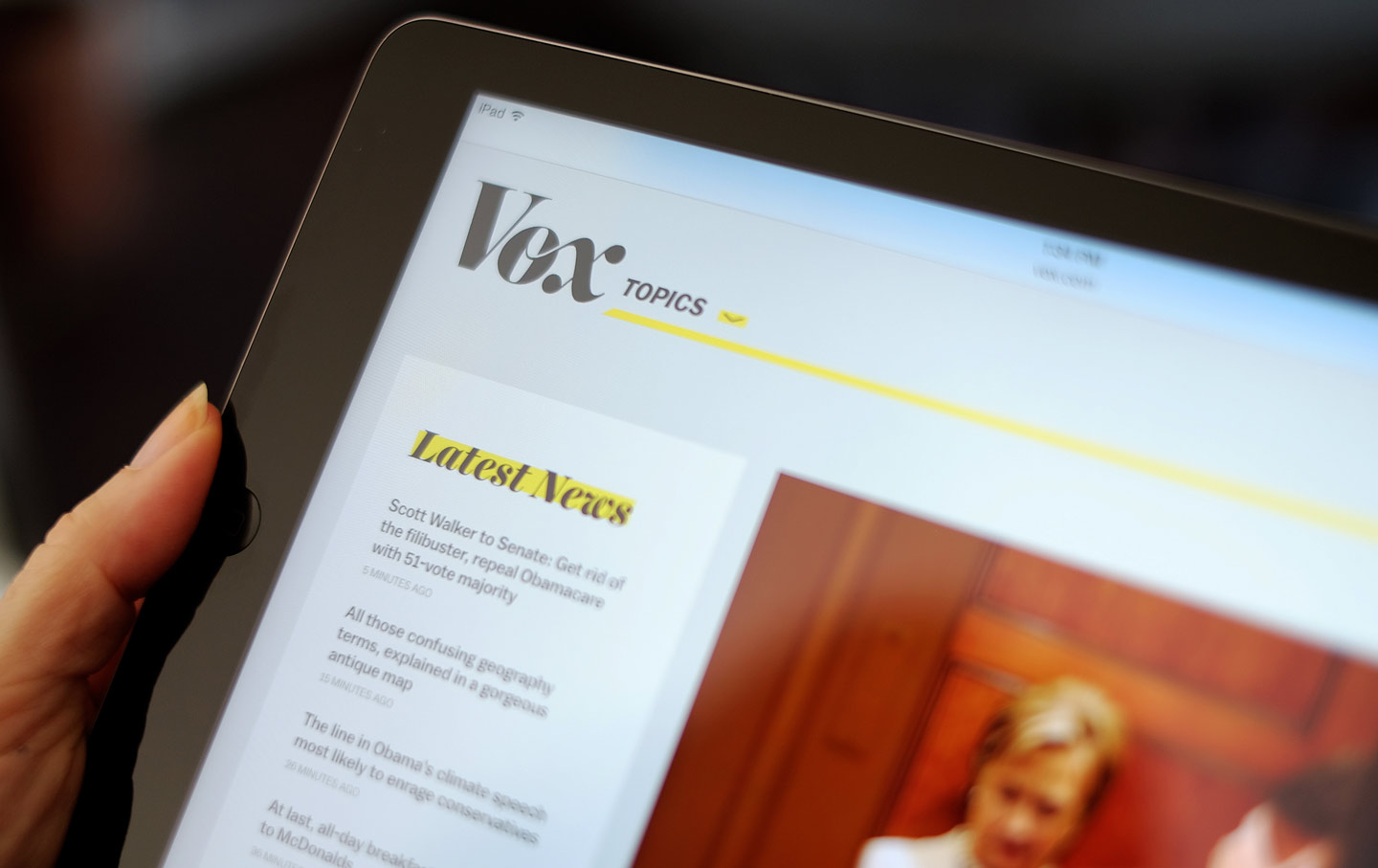 Vox's website on an iPad