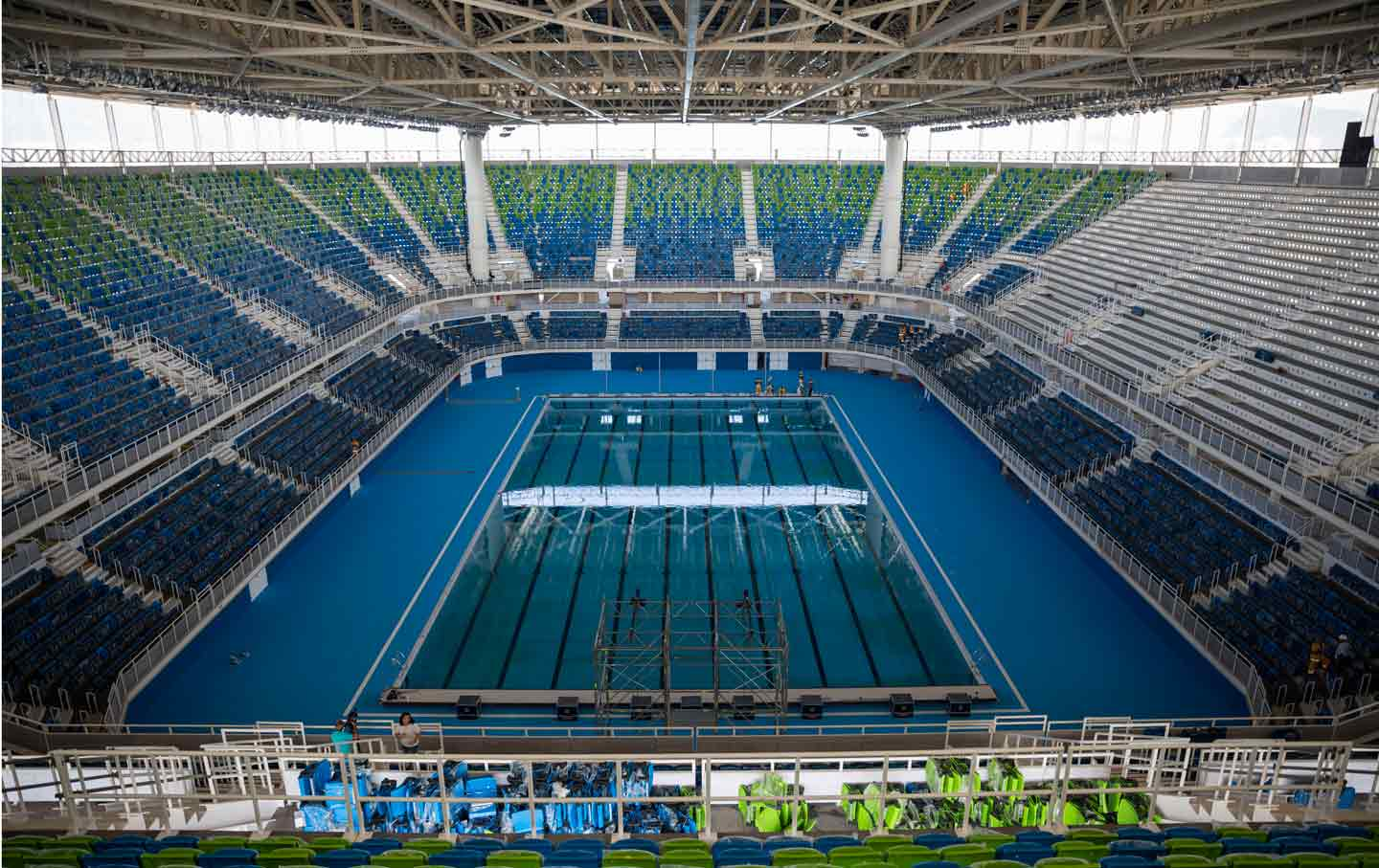 Empty Rio Aquatics Stadium