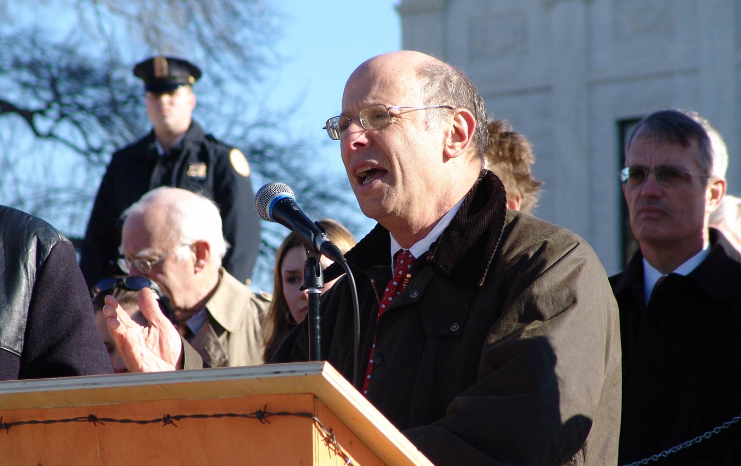 Michael Ratner in front of the Supreme Court