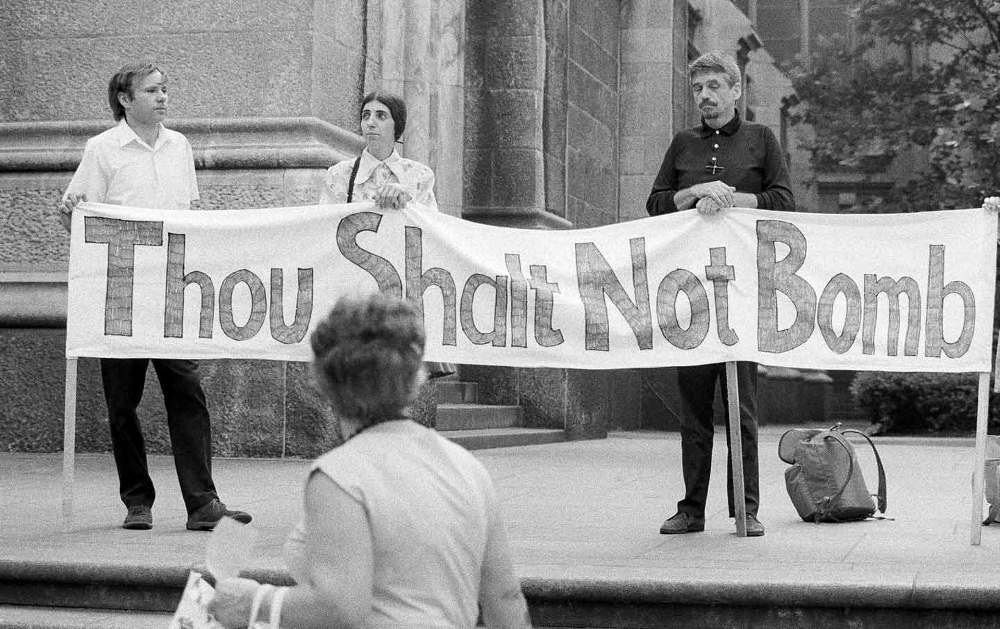 Daniel Berrigan protesting bombing