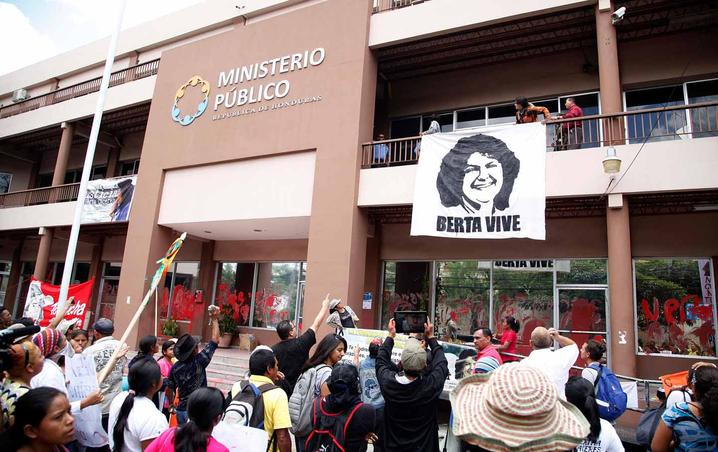 Protesters for Berta Caceres