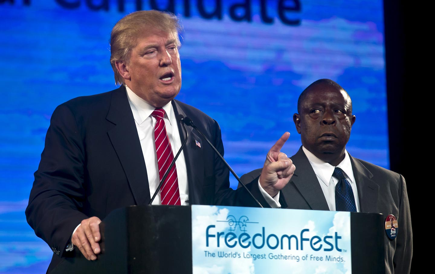 Republican presidential candidate Donald Trump and Jamiel Shaw,