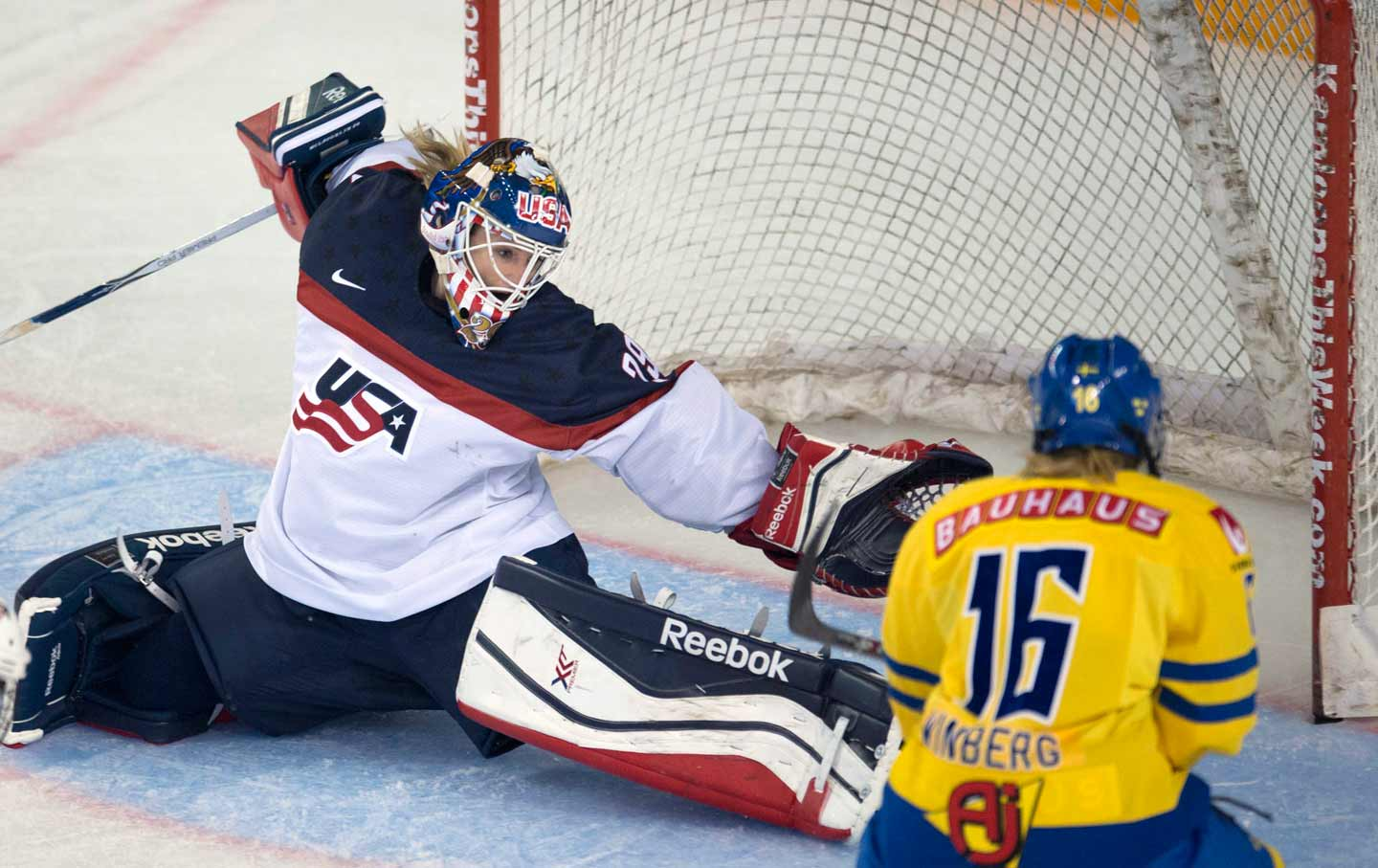 United States goalkeeper Brianne McLaughlin-Bittle blocks a shot. (AP Photo    The Canadian Press 22ab31eb8