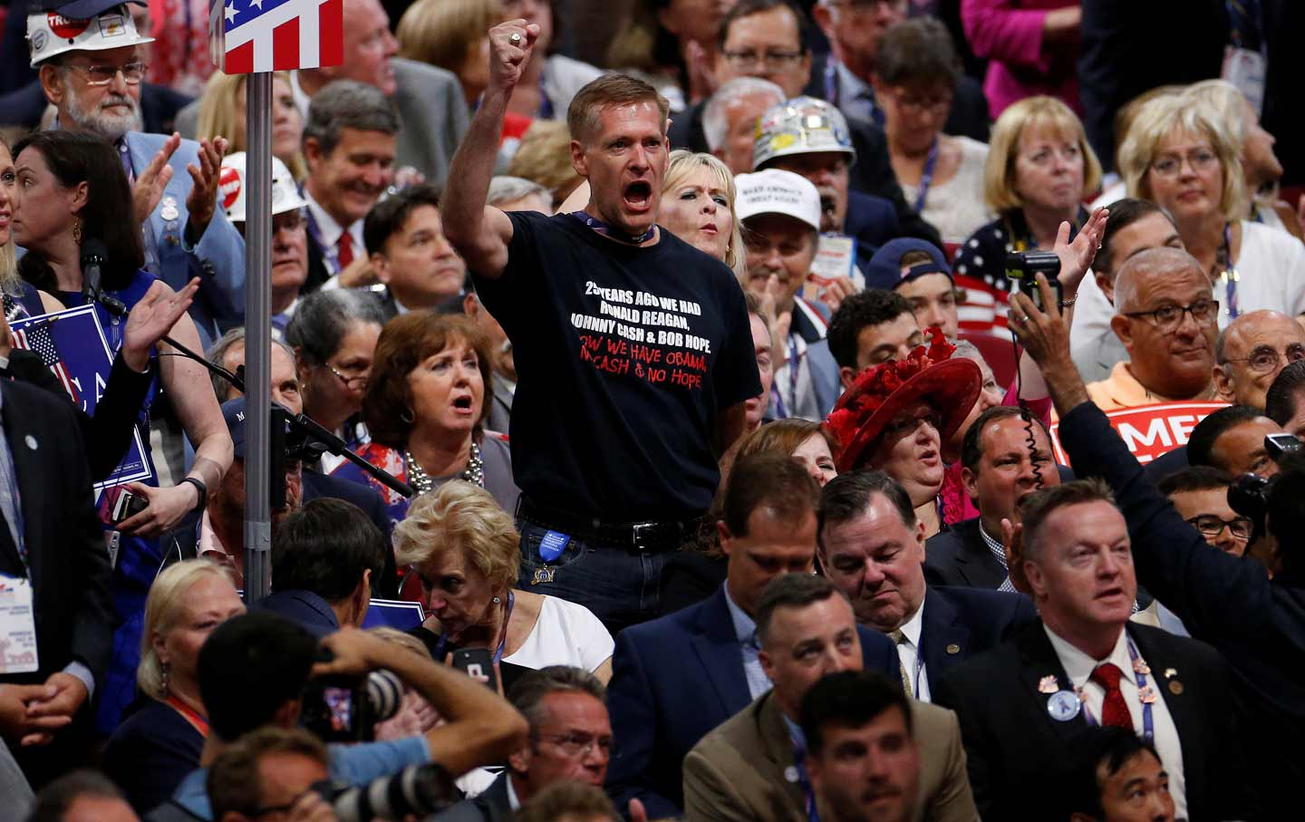 Republican man shouts during RNC