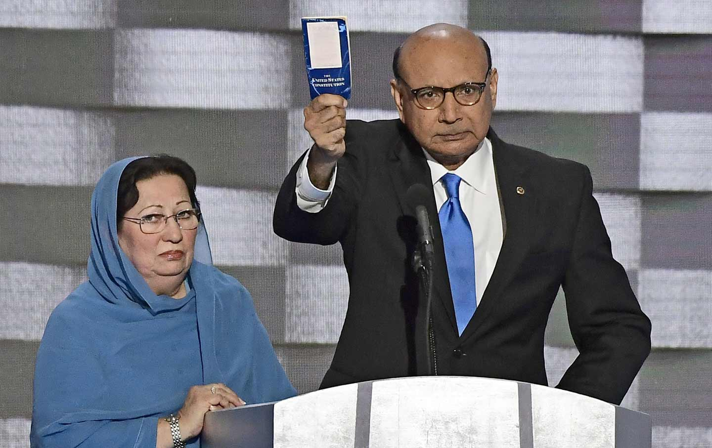 Khizr Khan holds copy of Constitution