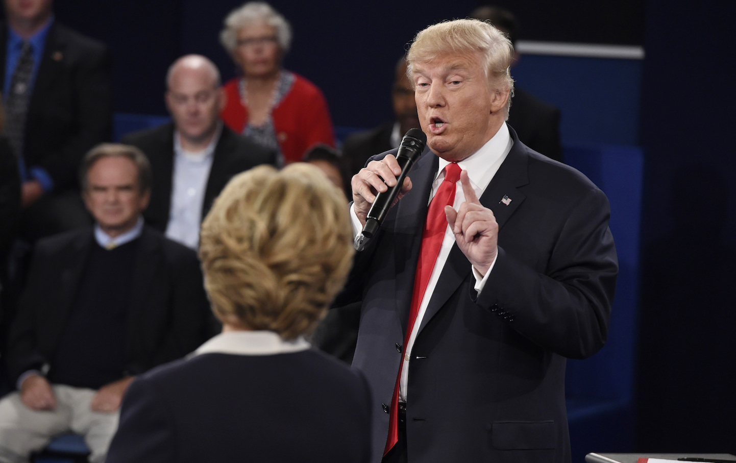 Trump speaks during the presidential town hall debate with Clinton at Washington University in St. Loui