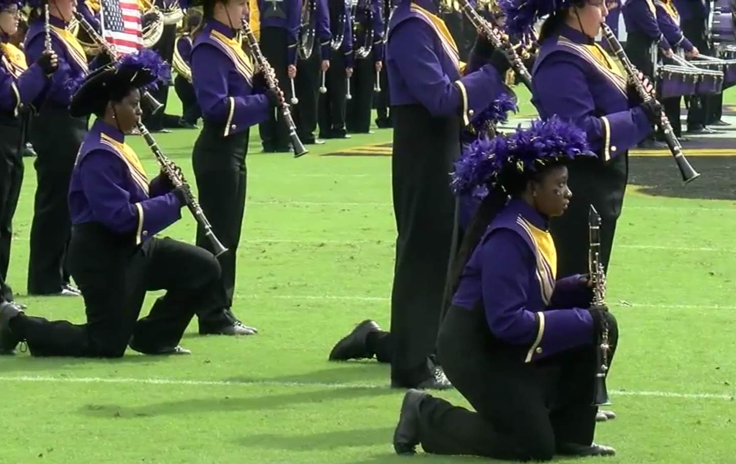 East Carolina University Band Kneeling