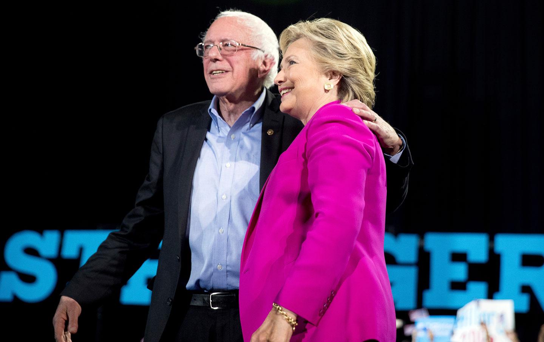 Democratic presidential candidate Hillary Clinton and Sen. Bernie Sanders