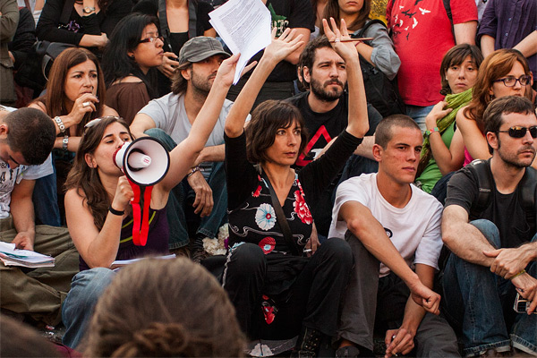 Simona Levi at an anti-austerity rally