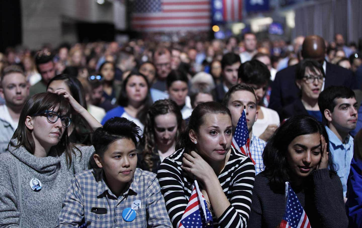 Clinton supporters watch results