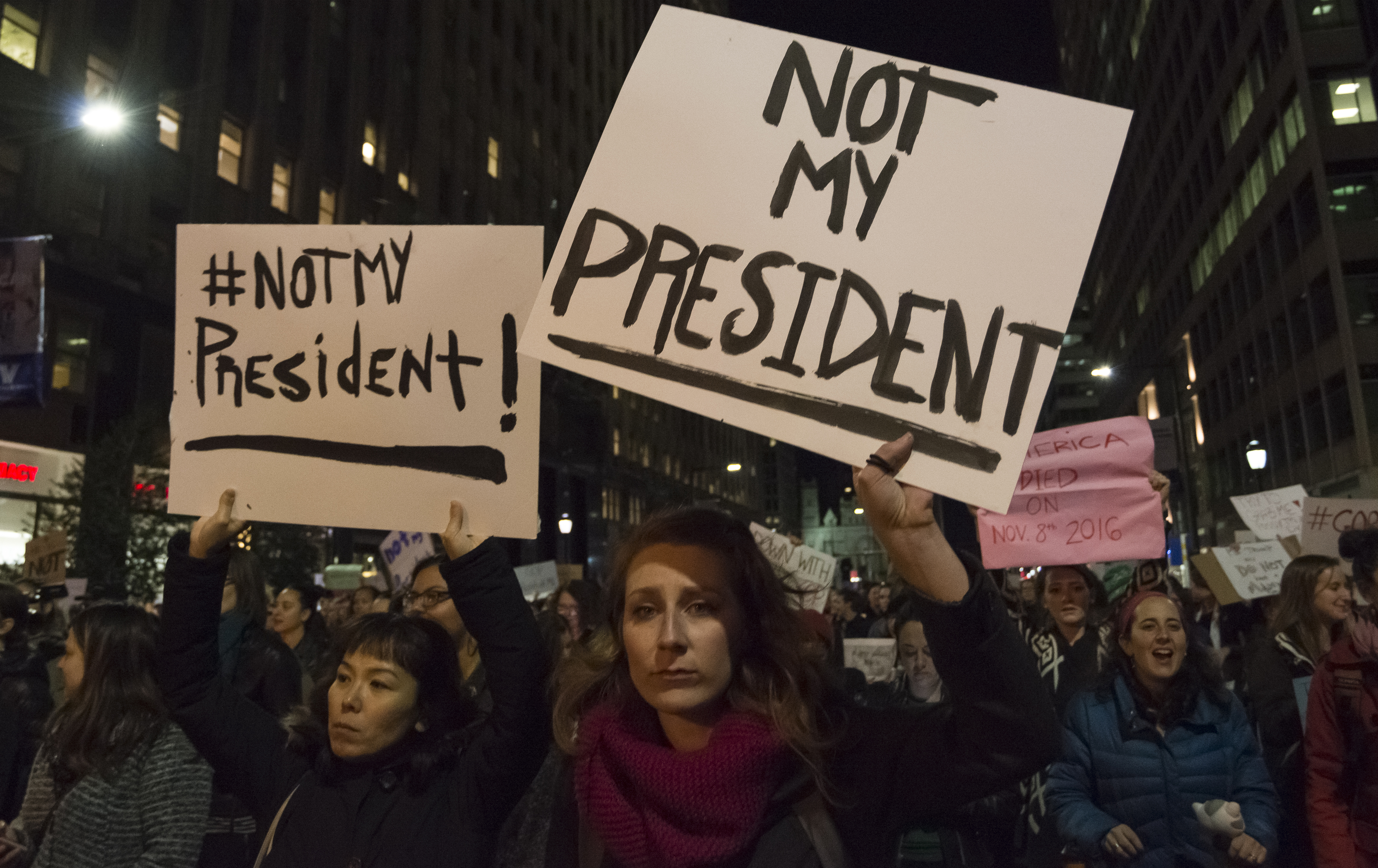 Demonstrators stage a n protest decrying the political agenda of President-elect Donald J. Trump.