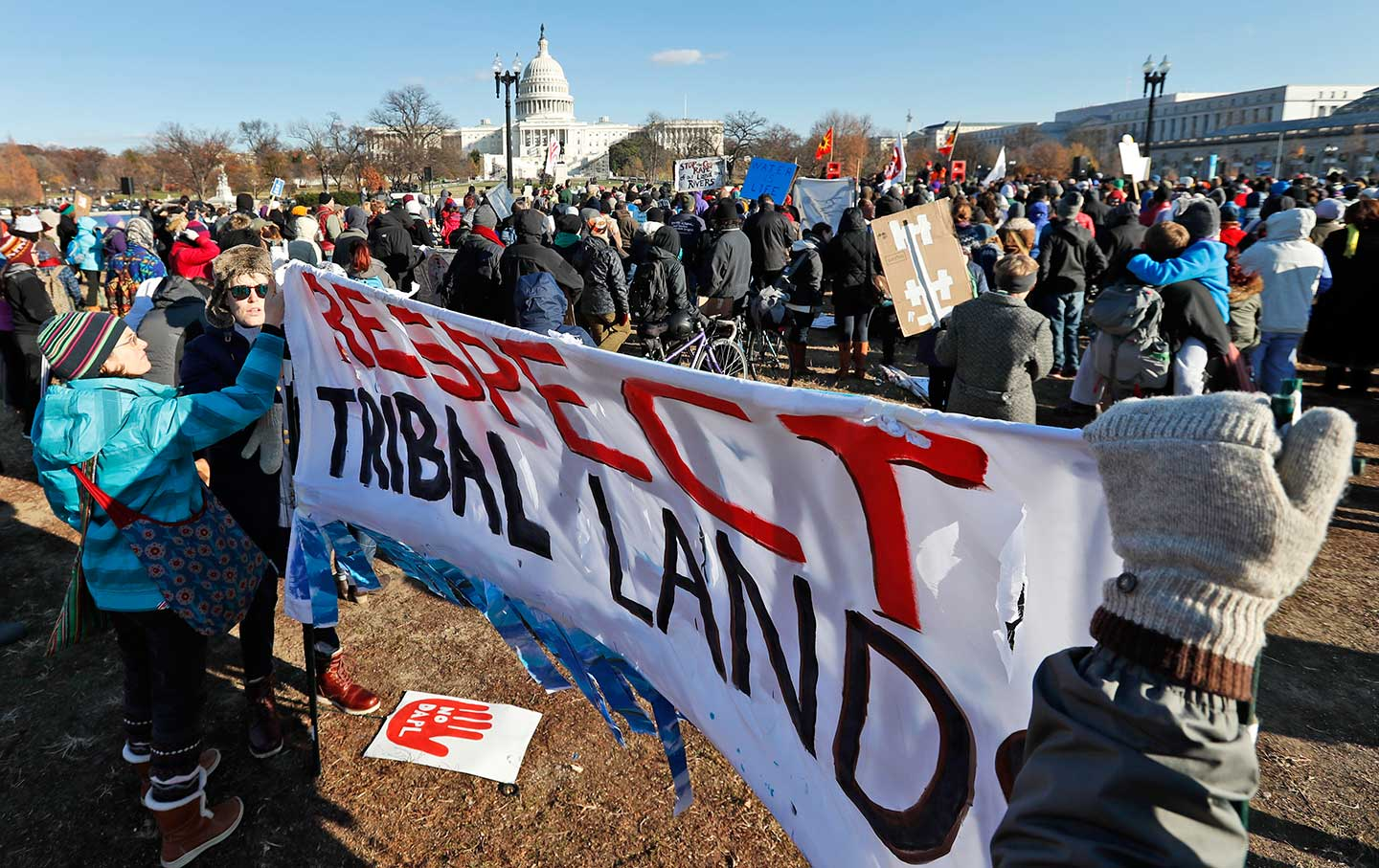 Demonstrators gather on Capitol Hill in Washington, Saturday, Dec. 10, 2016, to protest the Dakota Access oil pipeline.