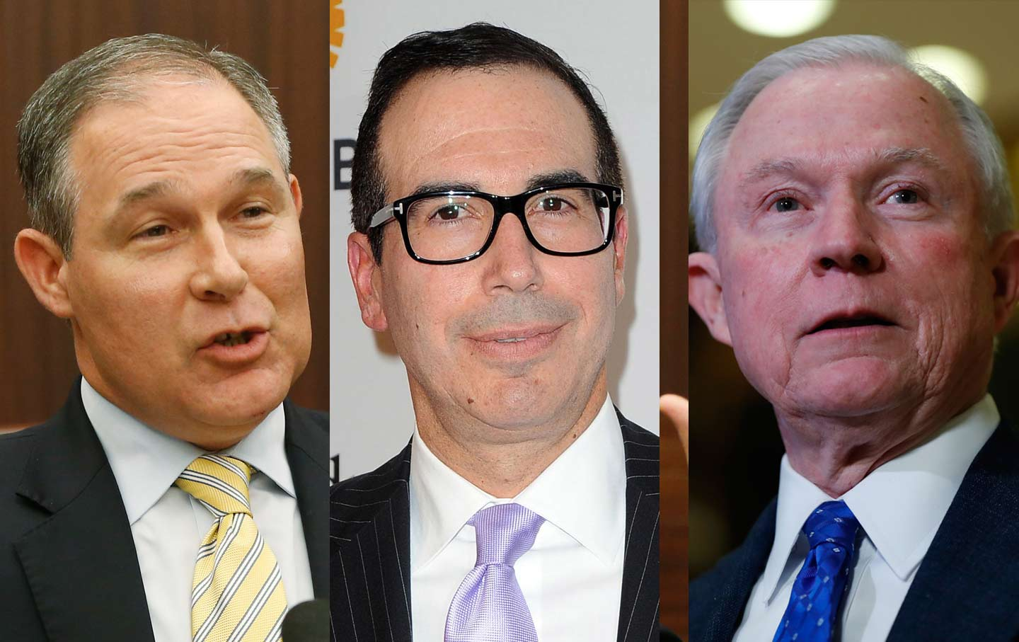 Scott Pruitt, Steven Mnuchin, and Jeff Sessions.